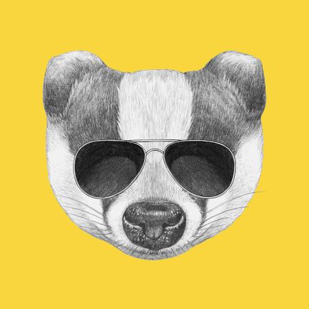 Ritratto di Badger con gli occhiali da sole. Illustrazione disegnata a mano.