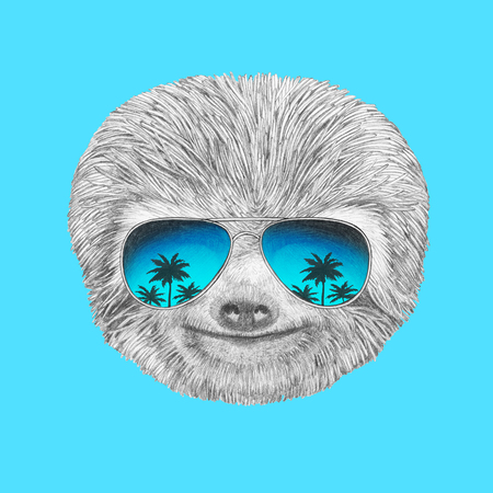 Portrait of Sloth with mirror sunglasses. Hand drawn illustration. Фото со стока