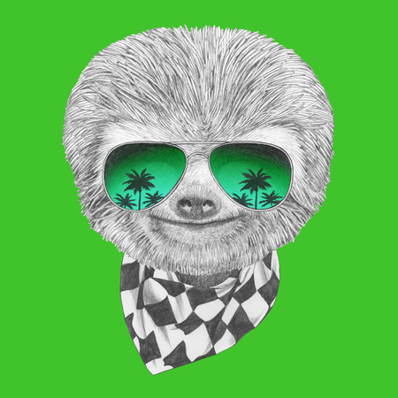 Portrait of Sloth with mirror sunglasses and scarf. Hand drawn illustration. Stock Photo