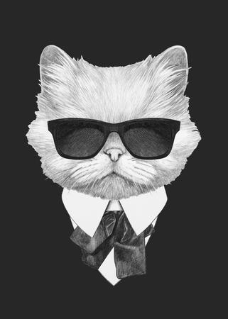 スーツでペルシャ猫の肖像画。手描きのイラスト。