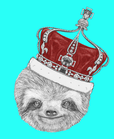 sloth: Portrait of Sloth with crown. Hand-drawn illustration.