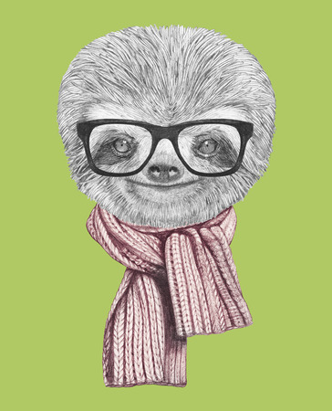 new: Portrait of Sloth with glasses and scarf. Hand-drawn illustration.