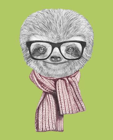 oso perezoso: Retrato de pereza con gafas y bufanda. Ilustración dibujada a mano.