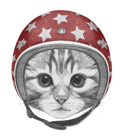 Portrait of Kitty with Helmet. Hand drawn illustration.