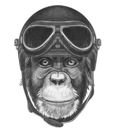 Retrato de mono con el casco de la vendimia. Dibujado a mano ilustración.