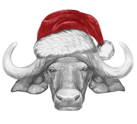 Portrait of Buffalo with Santa Hat. Hand-drawn illustration.