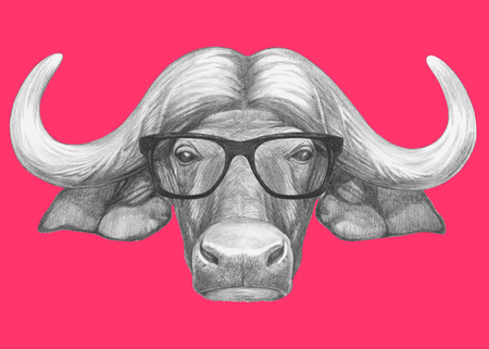 Portrait of Buffalo with glasses. Hand-drawn illustration. Reklamní fotografie - 116705419