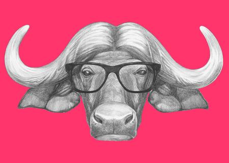 Portrait of Buffalo with glasses. Hand-drawn illustration. Stock Photo