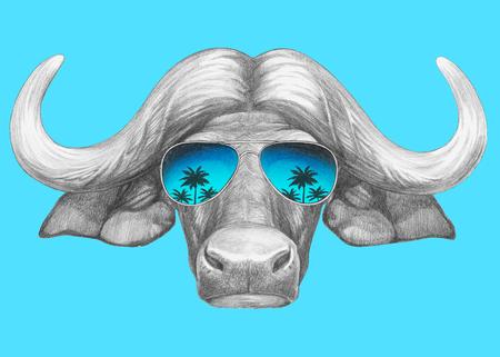 Portrait of Buffalo with mirror sunglasses. Hand drawn illustration.