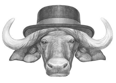 Portrait of Buffalo with hat. Hand-drawn illustration.