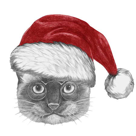 Portrait of Siamese Cat with Santa hat, hand-drawn illustration