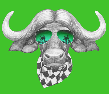 Portrait of Buffalo with mirror sunglasses and scarf. Hand drawn illustration.