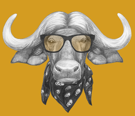 Portrait of Buffalo with glasses and scarf. Hand-drawn illustration.
