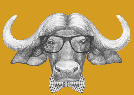 Portrait of Buffalo with glasses and bow tie. Hand-drawn illustration.