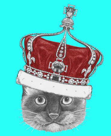 Portrait of Siamese Cat with crown. Hand drawn illustration.