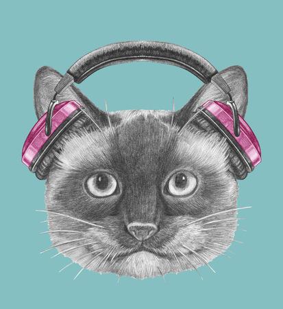 Portrait of Siamese Cat with headphones. Hand-drawn illustration. Imagens
