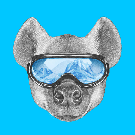 Portrait of Hyena with ski goggles. Hand-drawn illustration.