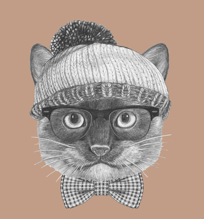 Portrait of Siamese Cat with glasses, hat and bow tie. Hand drawn illustration.
