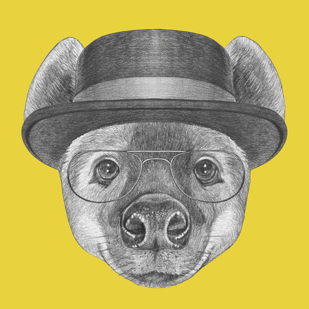Portrait of Hyena with glasses and hat, hand-drawn illustration