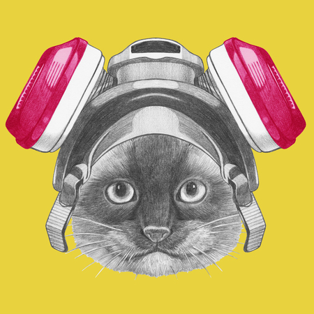 Portrait of Siamese Cat with gas mask, hand-drawn illustration
