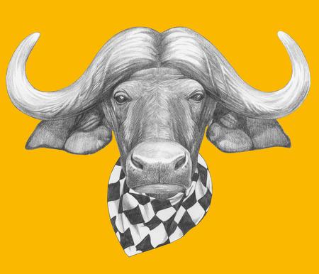 Portrait of Buffalo with scarf. Hand drawn illustration.