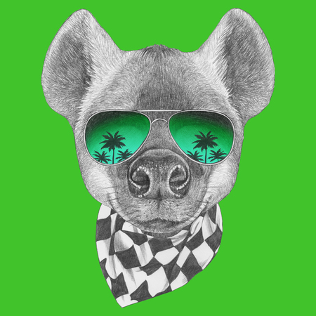 Portrait of Hyena with glasses and scarf, hand-drawn illustration. Banco de Imagens