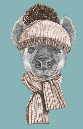 Portrait of Hyena with hat and scarf. Hand-drawn illustration. 写真素材