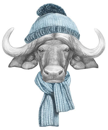 Portrait of Buffalo with hat and scarf, hand-drawn illustration Stock Photo