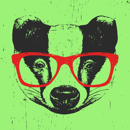 Portrait of Badger with glasses. Hand-drawn illustration. Vector
