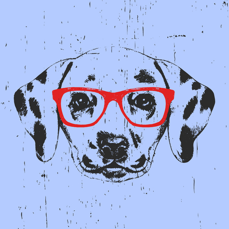 Portrait of Dalmatian Dog with glasses. Hand drawn illustration. Vector Vectores
