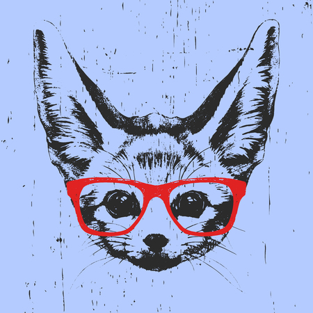 Portrait of Fennec Fox with glasses. Hand drawn illustration. Vector.