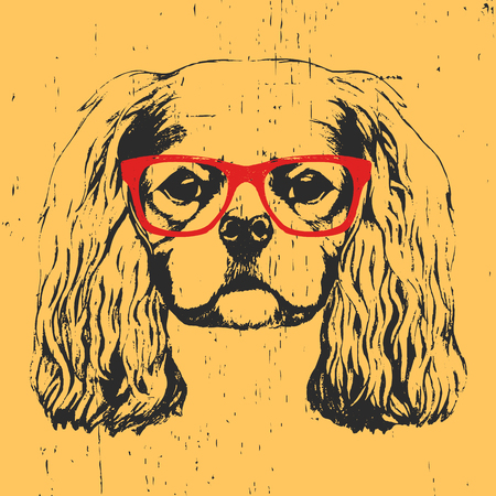 Portrait of Cavalier King Charles Spaniel with glasses. Hand drawn illustration. Vector