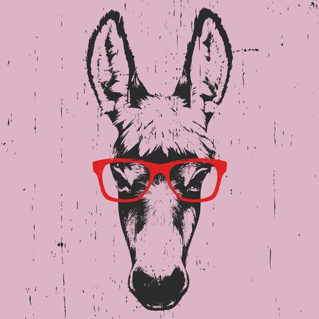 Porträt des Esels. Handgezeichnete Abbildung. Vektor