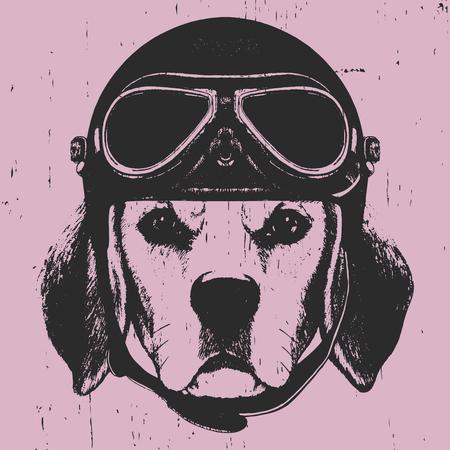 Portrait of Beagle with Vintage Helmet. Vector