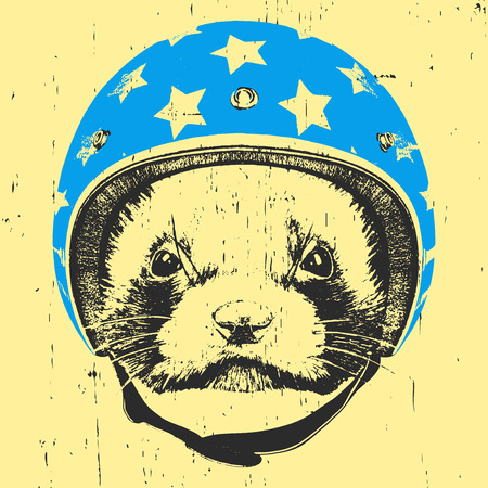 Portrait of Least Weasel with Helmet.  Vector Illustration