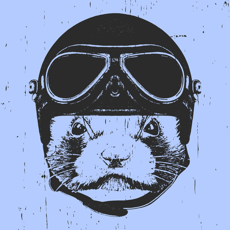 Portrait of Least Weasel with Vintage Helmet.  Vector Çizim