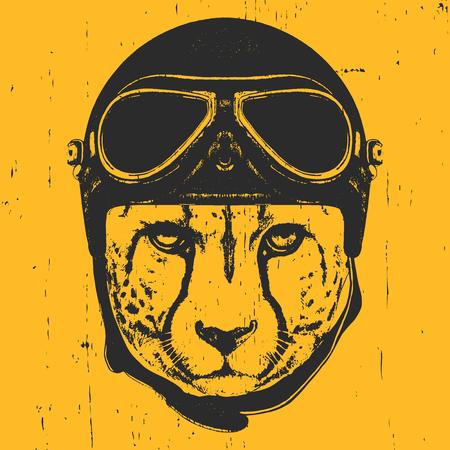 Portrait of Cheetah with Vintage Helmet. Vector