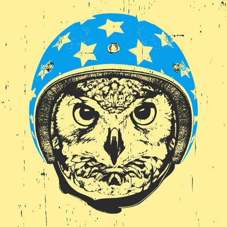 Portrait of Owl with Helmet. Vector