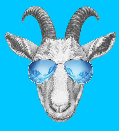 Portrait of Goat with mirrored sunglasses. Hand-drawn illustration.