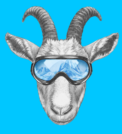 Portrait of Goat with goggles. Hand-drawn illustration. Stok Fotoğraf