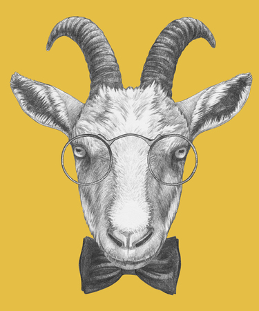 Portrait of Goat with glasses and bow tie. Hand-drawn illustration.