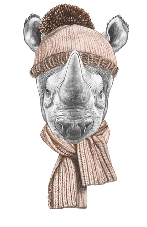 Portrait of Rhinoceros with hat and scarf. Hand-drawn illustration.