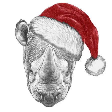 Portrait of Rhinoceros with santa hat. Hand-drawn illustration. Reklamní fotografie
