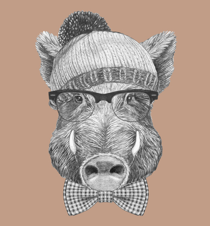 Portrait of Hipster Boar. Portrait of Boar with sunglasses and hat.. Hand-drawn illustration.