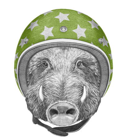 Portrait of Boar with helmet, hand-drawn illustration Stock Photo