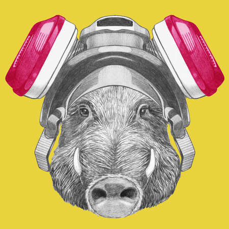 Portrait of Boar with gas mask. Hand drawn illustration.