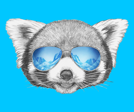 Portrait of Red Panda with mirrored sunglasses. Hand-drawn illustration. Imagens