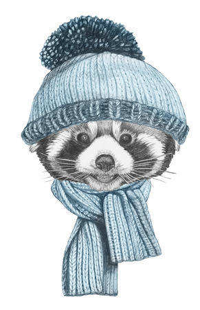 Portrait of Red Panda with hat and scarf. Hand-drawn illustration. 写真素材