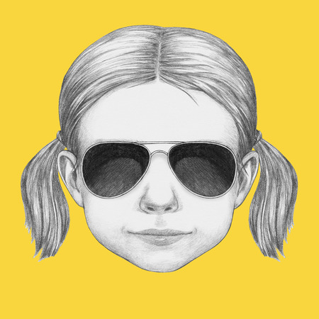 Portrait of Girl with sunglasses. Hand-drawn illustration.