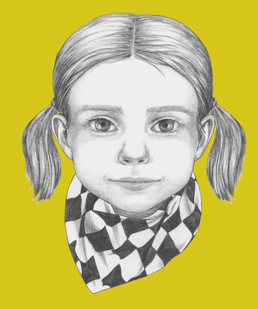 Portrait of Girl with scarf. Hand-drawn illustration.